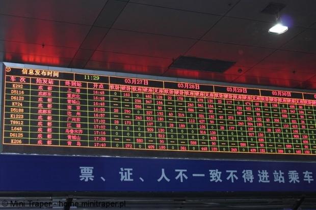 Mini Traper - Chengdu, rozkład jazdy pociągów